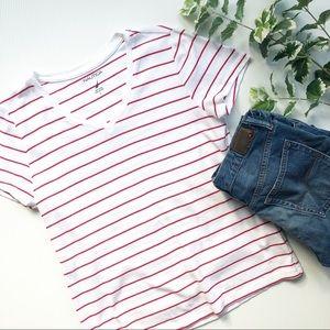 Nautica V Neck T Shirt Striped White & Red Large